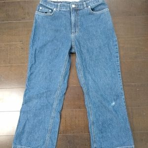 Land's End Blue Cropped Flare High Rise Jeans 6